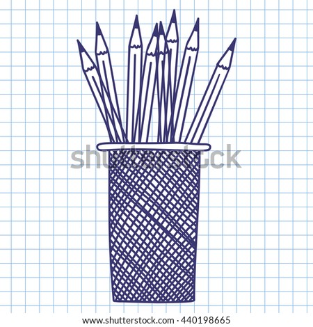Pencil case. Doodle sketch on checkered paper background. Vector illustration. - stock vector