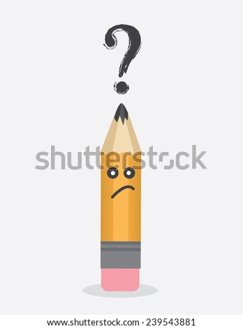 Pencil character with question mark above head  - stock vector