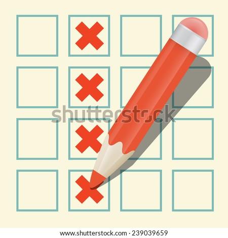 Pencil Check Option Vector - stock vector