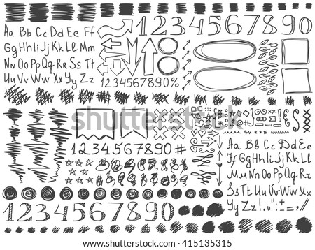 Pencil doodles effect set. Doodle alphabet. Simple doodling collection. Doodle numbers. Drawn symbols, numbers, arrows and frames set. Vector illustration. School doodling. Line art signs and symbols. - stock vector
