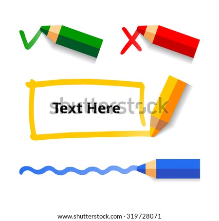 Pencil drawing doodle frames, line and check marks. Vector Set of Flat Design Elements on white background. - stock vector