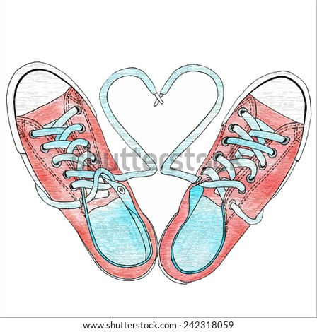Pencil drawing of shoes on a white background - stock vector