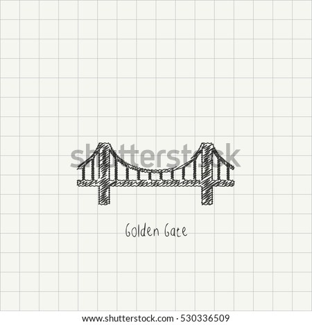 Pencil drawing of the Golden Gate monument. Architectural sketch imitating chalk drawing on a grid paper. World Famous monument scribble vector illustration.