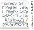 Pencil Drawing Sloppy Font. Vector Alphabet - stock vector