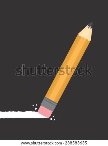 Pencil erasing through dark background  - stock vector