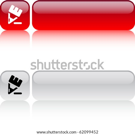 Pencil glossy square web buttons. - stock vector