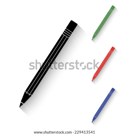 pencil icon - black and colored (green, red, blue) illustration with shadow