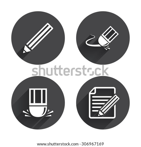 Pencil icon. Edit document file. Eraser sign. Correct drawing symbol. Circles buttons with long flat shadow. Vector - stock vector