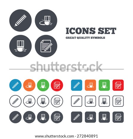 Pencil icon. Edit document file. Eraser sign. Correct drawing symbol. Web buttons set. Circles and squares templates. Vector - stock vector