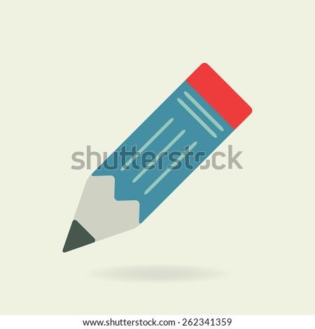 Pencil icon. Flat design. Colorful vector illustration. - stock vector