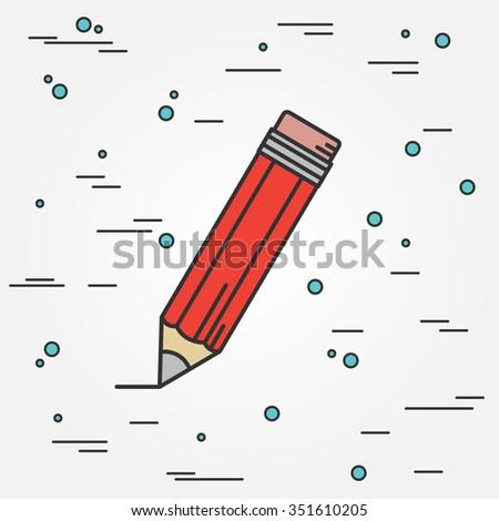 Pencil Icon.Pencil Icon Vector.Pencil Icon Drawing. Pencil Icon Image. Pencil Icon Graphic. Pencil Icon Art. Pencil Icon JPG. Pencil Icon JPEG. Pencil  Icon EPS - stock vector. Think line icon. - stock vector