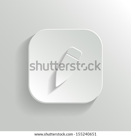 Pencil icon - vector white app button with shadow