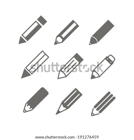 Pencil icons vector set - stock vector