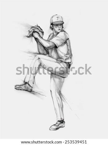 Pencil illustration, hand graphics - Baseball Pitcher - stock vector