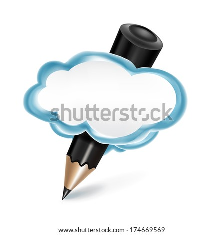 pencil in communication cloud isolated on white background - stock vector