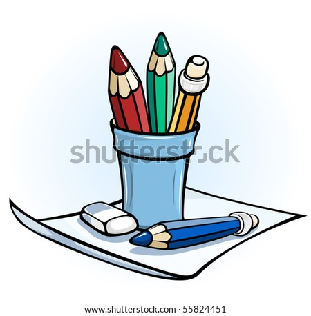 pencil in glass stand on paper vector illustration color - stock vector