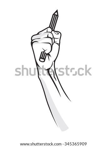 Pencil in hand - fight for education - stock vector