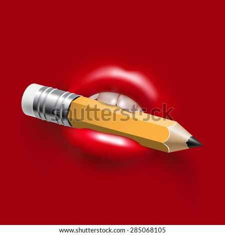 Pencil in the Woman Sexy Mouth - stock vector