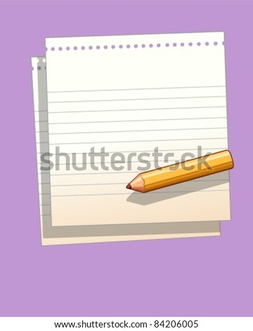 Pencil on sheets of ruled paper - stock vector