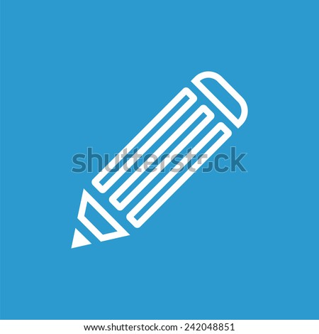 pencil outline icon, isolated, white on the blue background. Exclusive Symbols  - stock vector