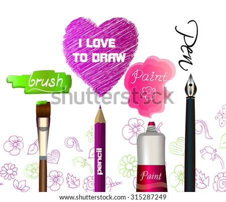 Pencil, pen, brush, tube of paint, Swatch and strokes.Tools of the artist and Doodles - stock vector