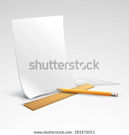 Pencil, ruler and a piece of paper. Vector illustration EPS 10 - stock vector