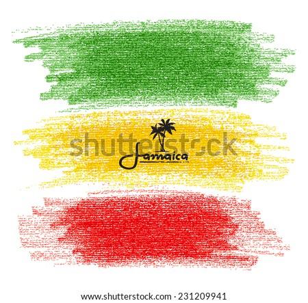 Pencil Scribbles of Rasta Colors. Vector Illustration - stock vector