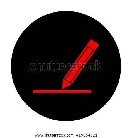 Pencil sign. Red vector icon - stock vector