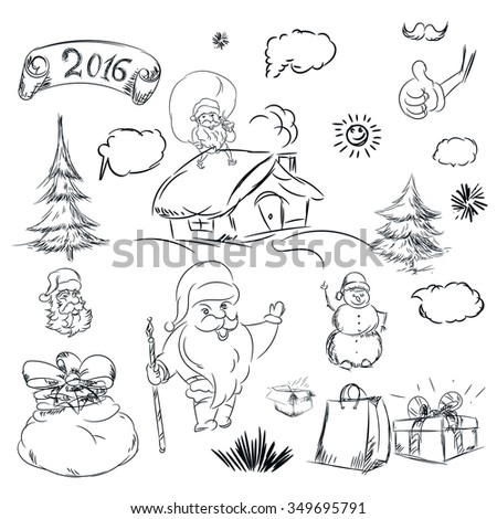 pencil sketch for christmas with christmas tree and house hand drawn scribble shapes santa
