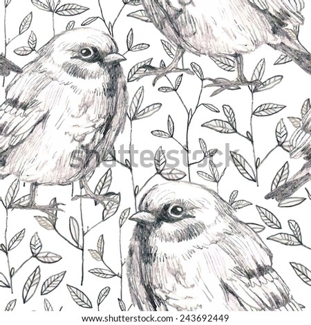 pencil sketch seamless pattern with flowers and bird sparrow - stock vector
