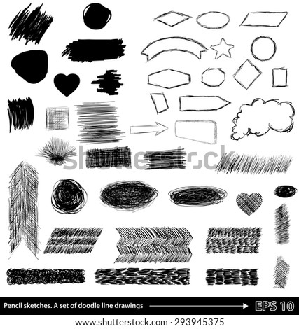 Pencil sketches.Hand drawn scribble shapes A set of doodle line drawings. Vector design elements - stock vector
