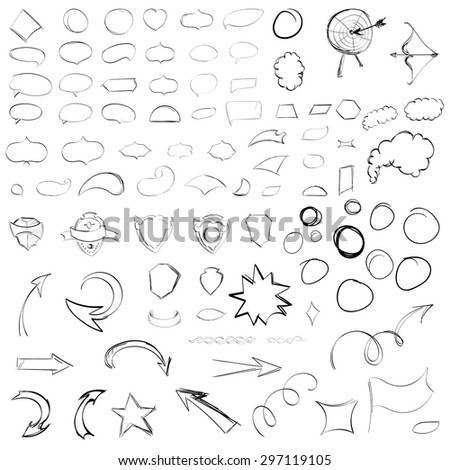 Pencil sketches.Hand drawn scribble shapes. A set of doodle line drawings. Vector design elements for business - stock vector