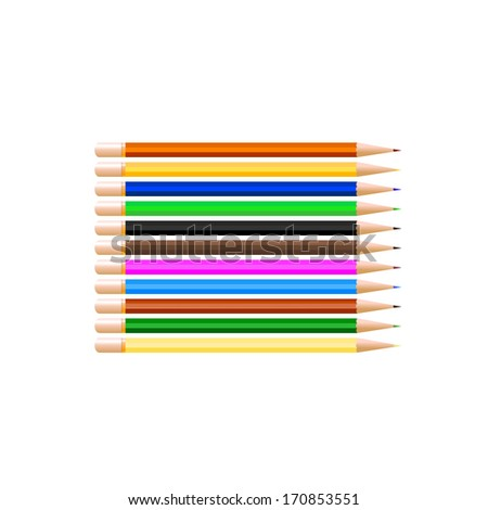 Pencil vector illustration set. Eps 10.Coloring pencils with copy space.Colored pencils.Colored Crayons, vector illustration - stock vector