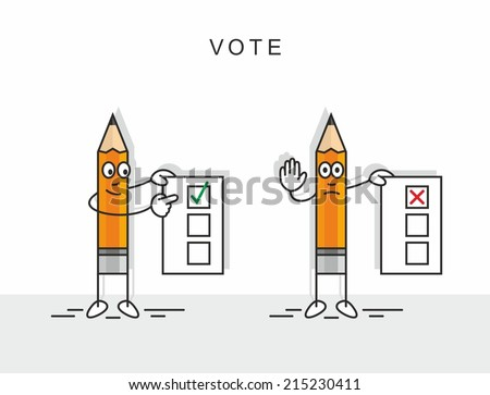 pencil voting - stock vector