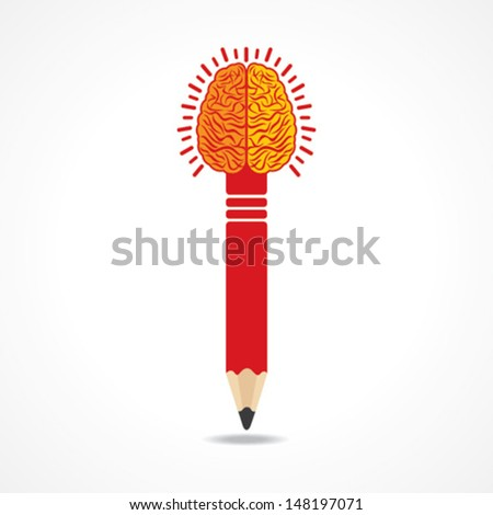 Pencil with brain  vector - stock vector