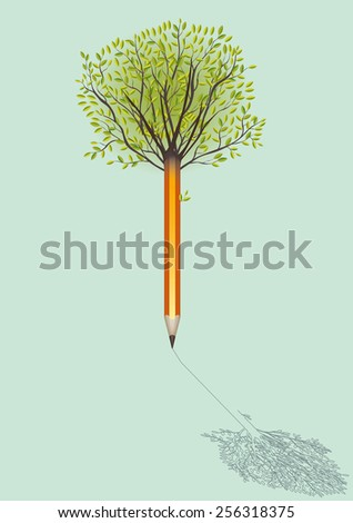 pencil with branches drawing its own shadow - stock vector