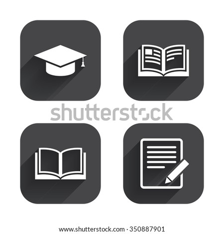 Pencil with document and open book icons. Graduation cap symbol. Higher education learn signs. Square flat buttons with long shadow. - stock vector