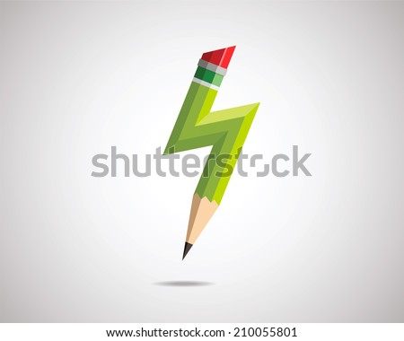 Pencil with lightning. Birth of idea. Vector illustration. - stock vector
