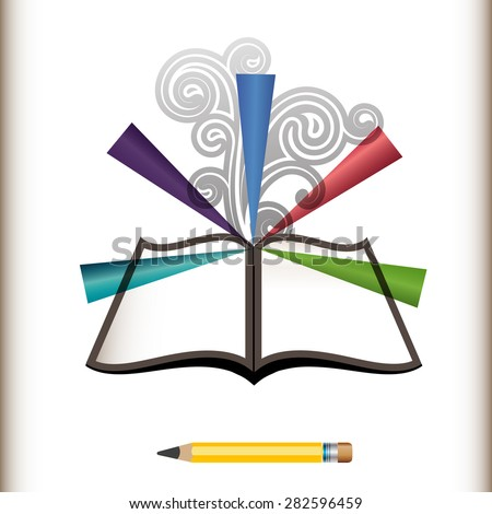 Pencil with open book burst and coils create edit write concept  - stock vector