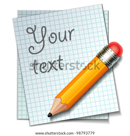 pencil with paper - stock vector