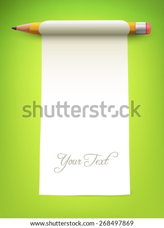 pencil with paper - vector illustration - stock vector