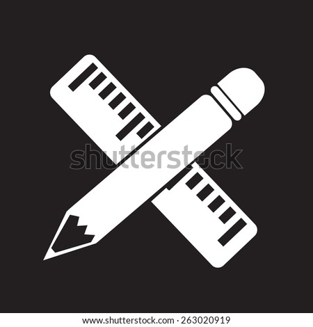 Pencil with ruler icon - stock vector