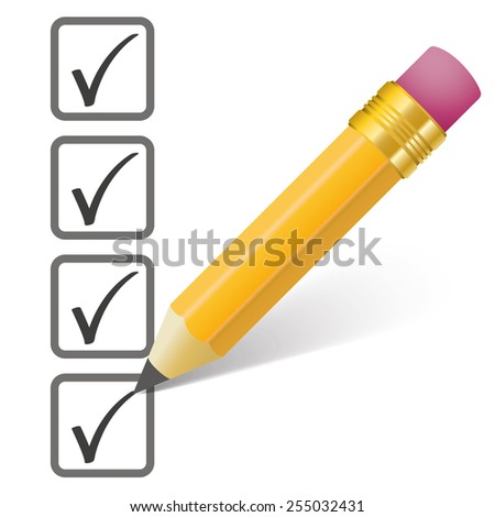 Pencil with shadow and checklist on the white. Eps 10 vector file. - stock vector