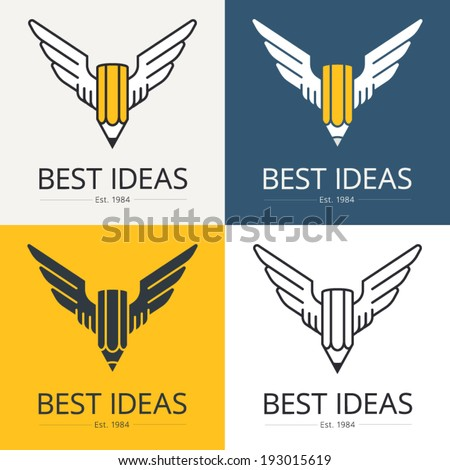 Pencil with wings, conceptual illustration for art, scripting, design themes. Logo template. Vector graphics. - stock vector