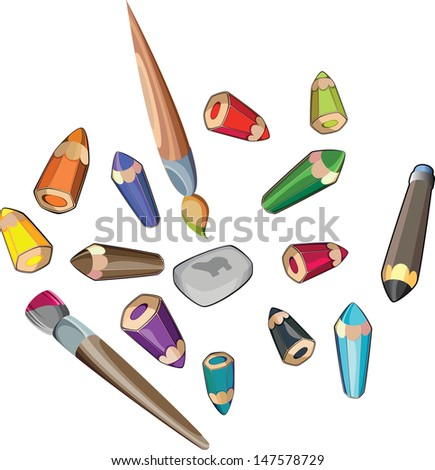 Pencils and brushes - stock vector