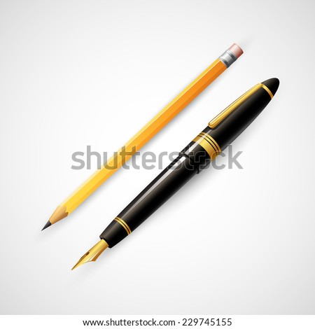 Pencils and pens. Vector illustration - stock vector