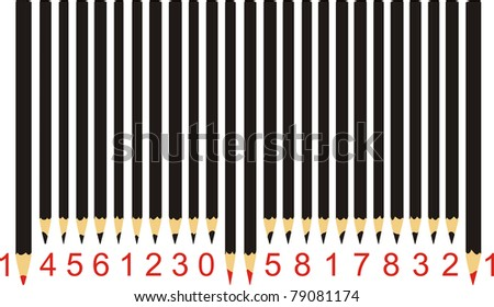 Pencils in the form of bar code