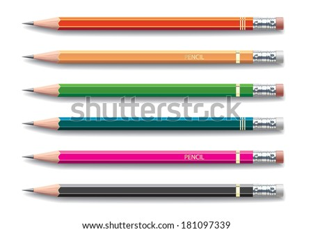 Pencils painted in different colors on white background. Vector illustration