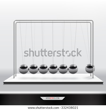 Pendulum or newton cradle. Realistic vector illustration . - stock vector