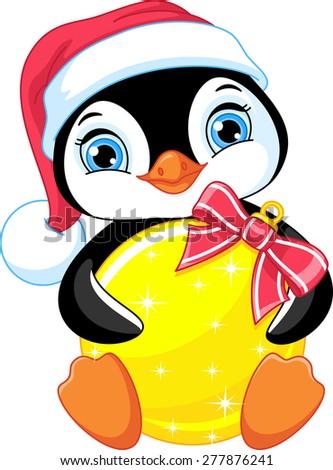 Penguin and Christmas balls - stock vector